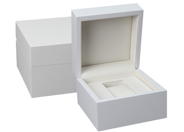 Custom White Wooden Watch Box PU Inside Material For Twist Watch Storage