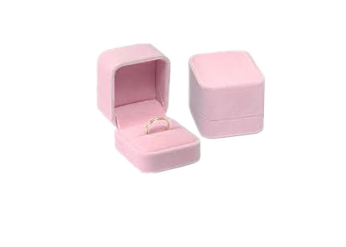 Luxury Velvet Wedding Ring Jewelry Box Packaging Pink Elegant Style High Grade