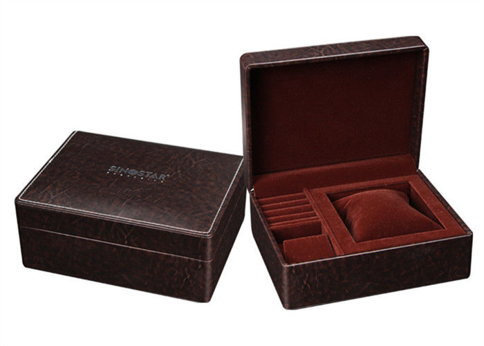 Brown Small Leather Small Jewelry Box , High End Style Rectangle Jewelry Gift Boxes