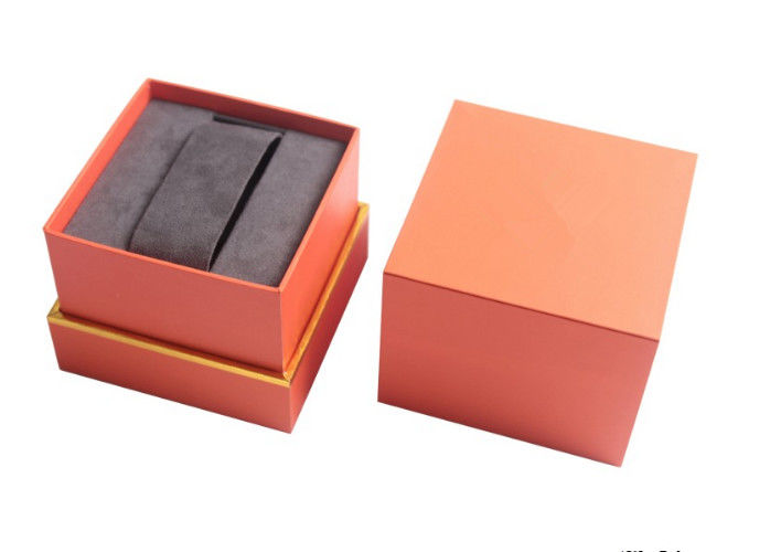 Cardboard Single Watch Box Packaging Orange Surface Glossy Laminated Custom Logo