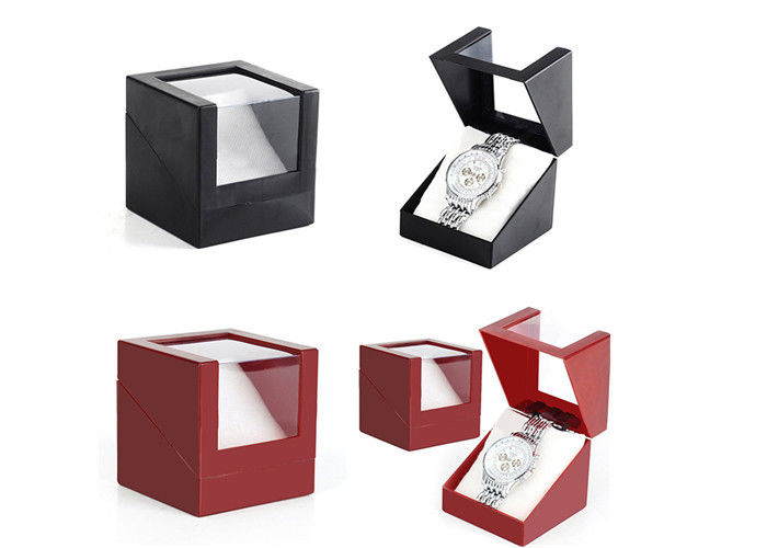 Presentation Gift Paper Watch Box Black / Red Custom Logo Color High - Grade