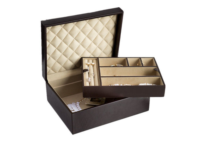 Two Floors Leather Jewelry Box Embossed For Gift Packaging Custom Logo